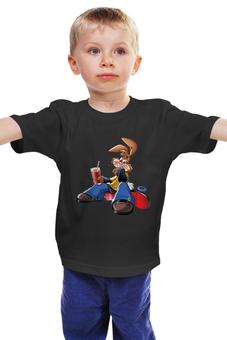"""Детская футболка классическая унисекс """"Кролик"""" - скейт, заяц, несквик"""