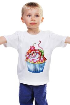"""Детская футболка """"Мышка на кексе"""" - девочке, мышка, капкейк, пирожное, сладкая"""