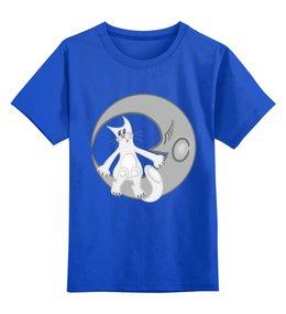 """Детская футболка классическая унисекс """"Лунный кот сидит на луне"""" - арт, луна, китайский гороскоп, лунный кот, год кота"""