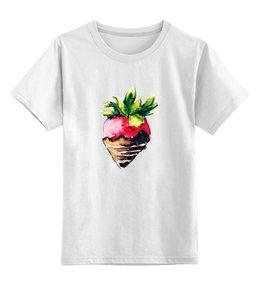 """Детская футболка классическая унисекс """"Клубничка"""" - еда, дети, клубничка, watercolor, акварельный клипарт"""