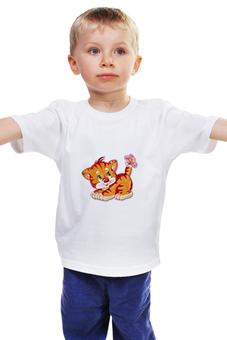 """Детская футболка классическая унисекс """"Котёнок"""" - бабочка, мультяшки, рисунок, котёнок"""