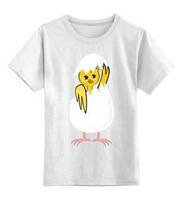 """Детская футболка классическая унисекс """"желтый новорожденный цыпленок"""" - животные, птицы, день рождения, иллюстрация, новая жизнь"""