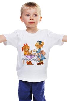 """Детская футболка классическая унисекс """"Мы с подружкаю вдвоём..."""" - подружки, чай, печенье, гости"""