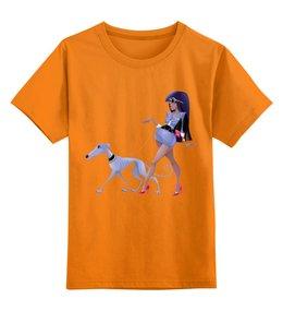 """Детская футболка классическая унисекс """"Леди с собакой"""" - очки, собака, пёс, борзая, год собаки"""