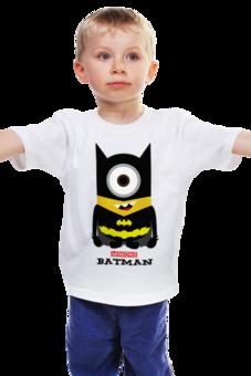 """Детская футболка """"Minion Batman                        """" - смешные, приколы, мультики, comics, стиль, batman, супергерои, dc, миньоны, superhero"""