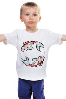 """Детская футболка классическая унисекс """"Знак Зодиака Рыбы"""" - арт, животные, рыба, знак зодиака, рсиунок"""