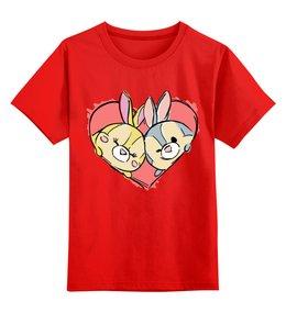 """Детская футболка классическая унисекс """"Зайчики"""" - заяц, зайка, сердце, любовь"""