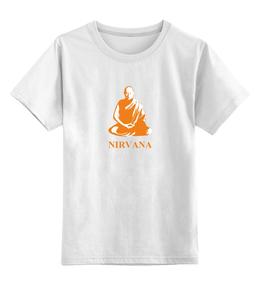 """Детская футболка классическая унисекс """"Nirvana-orange"""" - nirvana, монах, буддизм, yoga, lingam"""
