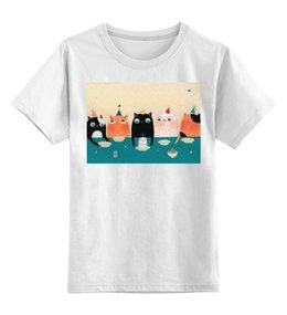 """Детская футболка классическая унисекс """"Праздник"""" - кот, праздник, друзья, рисунок"""