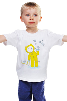"""Детская футболка классическая унисекс """"Зимняя прогулка"""" - зима, настроение, прогулка, рождество, малыш, ребенку, котики, снежинка, новыйгод, сани"""