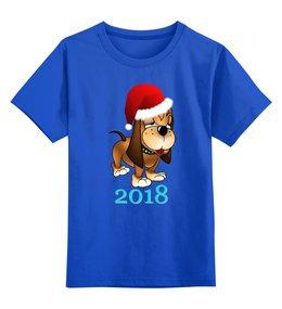 """Детская футболка классическая унисекс """"Новый 2018 год"""" - мопс, зима, китайский новый год, год собаки"""