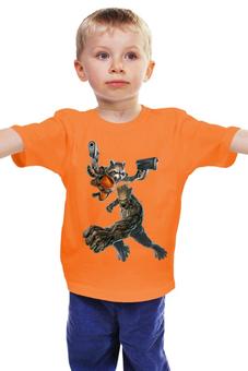 """Детская футболка классическая унисекс """"Rocket Raccoon and Groot/Енот Ракета и Грут"""" - marvel, ракета, racoon, стражи галактики, грут"""