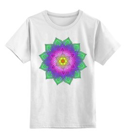 """Детская футболка классическая унисекс """"Яркий цветок - мандала"""" - цветы, узор, мандала, индийский, мехенди"""