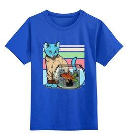 """Детская футболка классическая унисекс """"Кошечка"""" - рыбка"""