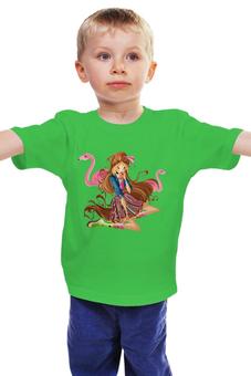 """Детская футболка классическая унисекс """"Девочка с фламинго """" - фея, магия, клуб винкс"""