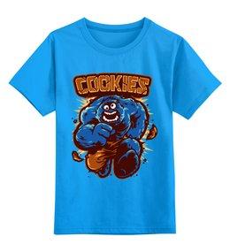 """Детская футболка классическая унисекс """"Печеньки"""" - монстр, hulk, халк, печенье, улица сезам"""