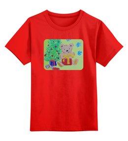 """Детская футболка классическая унисекс """"Новогодний мишка"""" - новый год, подарки, елка"""