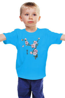 """Детская футболка """"Японская сакура"""" - цветы, вишня, иероглифы, сакура"""