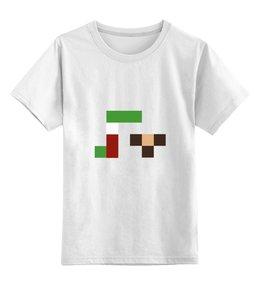 """Детская футболка классическая унисекс """"Гена и чебурашка"""" - pixel, гена, чебурашка, wax, пиксел арт"""