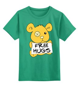 """Детская футболка классическая унисекс """"Бесплатные объятья"""" - free hugs, обнимашки, объятья, бесплатные объятья"""