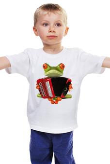 "Детская футболка классическая унисекс ""Баянист"" - frog, музыкант, лягушонок, баянист"