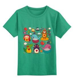 """Детская футболка классическая унисекс """"Зверушки"""" - любовь, сердца, животные, звери"""