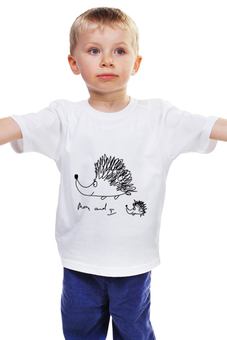 """Детская футболка классическая унисекс """"ежики"""" - авторские майки, животные, рисунок, семья, еж"""