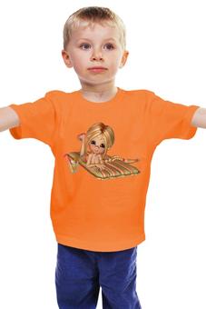 """Детская футболка """"Красотка на пляже"""" - девушка, море, отпуск, каникулы, коктейль"""