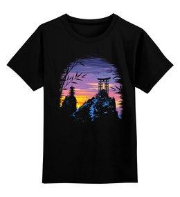 """Детская футболка классическая унисекс """"Закат в Японии """" - облака, закат, пейзаж, япония, арка"""