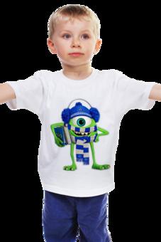 """Детская футболка """"Университет Монстров"""" - прикольно, арт, популярные, прикольные, в подарок, креативно, детская футболка, университет монстров, майк"""