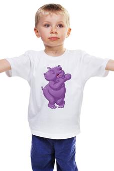"""Детская футболка классическая унисекс """"Счастливый бегемотик"""" - радость, улыбка, бегемот"""