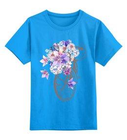 """Детская футболка классическая унисекс """"Велосипед"""" - цветы, спорт, велосипед"""