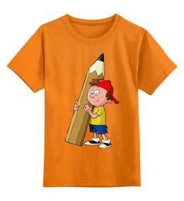"""Детская футболка классическая унисекс """"Школа"""" - мальчик, карандаш, школа"""