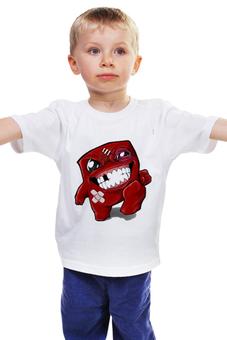 """Детская футболка классическая унисекс """"Super Meat Boy"""" - игра, super meat boy, игровой персонаж"""