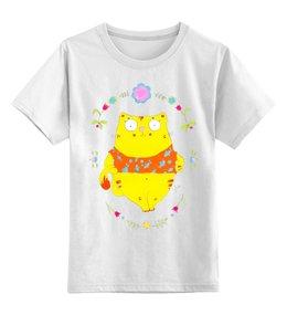 """Детская футболка классическая унисекс """"Толстый котик"""" - арт, котик, мимими, милое, цветы"""
