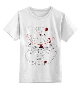 """Детская футболка классическая унисекс """"keep your smiling sheep"""" - год овцы, 2015, sheep, new year, новый год"""