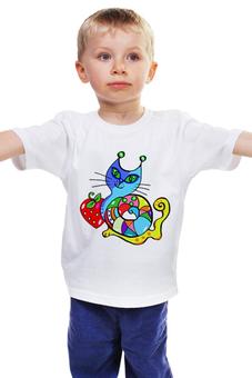 """Детская футболка """"Кошка-улитка"""" - кошка, смешная, коты, улитка, яркая"""