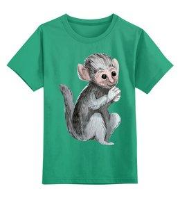 """Детская футболка классическая унисекс """"Покормите обезьянку"""" - дикие животыне, обезьяна, мятная, зеленая, обезьянка"""
