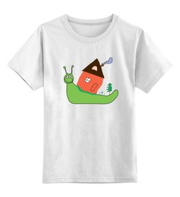 """Детская футболка классическая унисекс """"улитка"""" - улитка, зеленый, дом, природа, улыбка"""