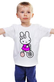 "Детская футболка ""кошка. НА ВЕДОСИПЕДЕ.HELLO KITTY.ЛЮБИМЫЙ ГЕРОЙ "" - кошка, kitty, велосипед, мултфильм"