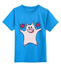 """Детская футболка классическая унисекс """"Розовый поросёнок с бенгальскими огнями"""" - арт, счастье, свин, розовый поросенок, бенгальский огонь"""
