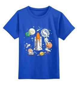 """Детская футболка классическая унисекс """"Космос, space"""" - звезды, планета, космос, ракета, космонавт"""