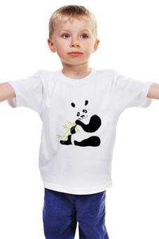 """Детская футболка классическая унисекс """"Панда """" - бамбук"""