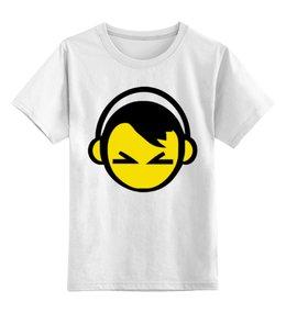 """Детская футболка классическая унисекс """"Смайл в наушниках """" - smile, music, dj, диджей"""