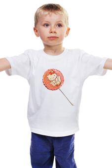 "Детская футболка ""Леденец на палочке"" - конфета, котики, леденец, лолипоп"