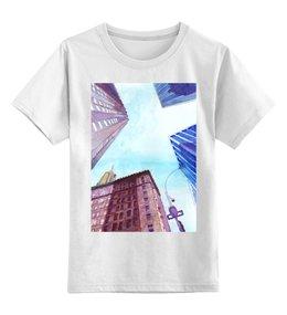 """Детская футболка классическая унисекс """"Небоскребы II"""" - город, улица, небо, нью йорк, небоскребы"""
