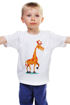 """Детская футболка """"Жираф Боря"""" - животные, мультфильм, рисунок, детский, жираф"""