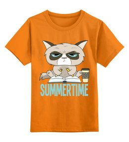 """Детская футболка классическая унисекс """"Угрюмый кот"""" - summertime, летнее время, кот, кошка, лето"""
