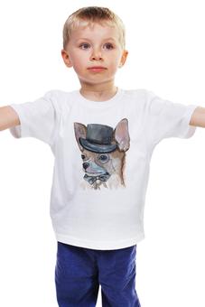 """Детская футболка классическая унисекс """"джентльмен"""" - лето, животные, собаки, терьер, декоративный"""