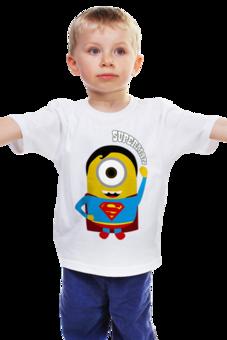 "Детская футболка ""SuperMan Minion - Миньон СуперМен"" - прикольно, прикол, арт, авторские майки, стиль, рисунок, футболка мужская, детская футболка, dc, superhero"